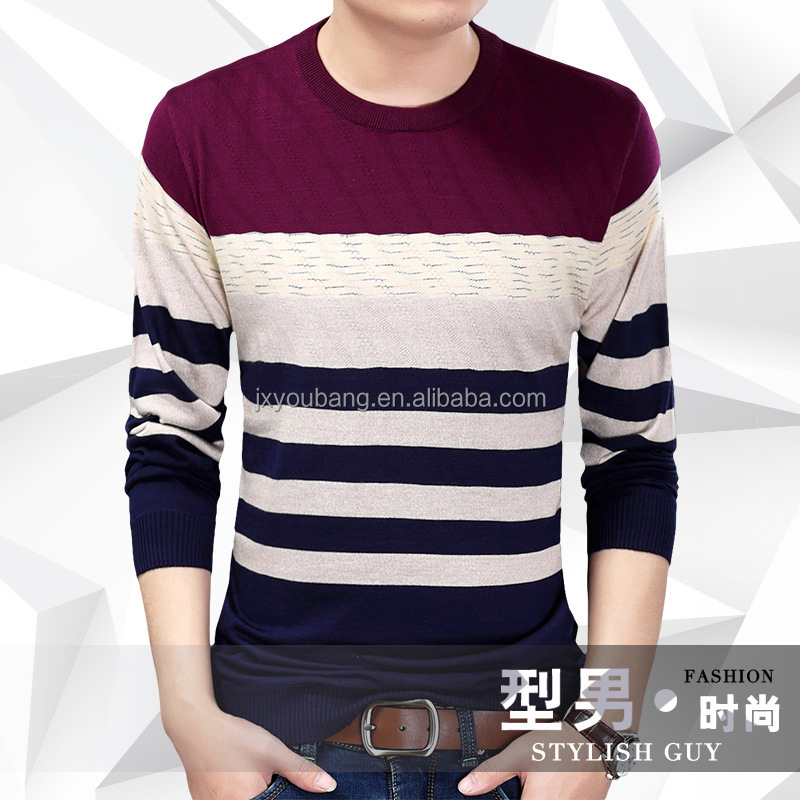 2017 Latest crew neck classic white black stripe knitted man sweater