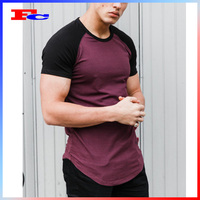 95% Cotton 5% Elastane Comfort Muscle Fitted Blank Sports T-shirt Mens Fitness Clothing