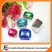 Acrylic Octagon Rectangle Rhinestone, Jewels, Cabochon With Silver Prong , Sew on Setting.