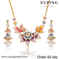 S-6-xuping fantastic luxury crystal 18 carat gold bridal colorful flower jewelry sets