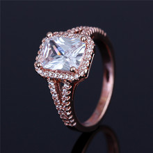 Fashion Cushion Cut white crystal rings mirco hand made jewelry rings for gift