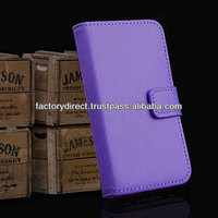 New Leather Flip Case Cover Pouch Bumper Wallet for iPhone 4 4G 4S Purple Best Quality