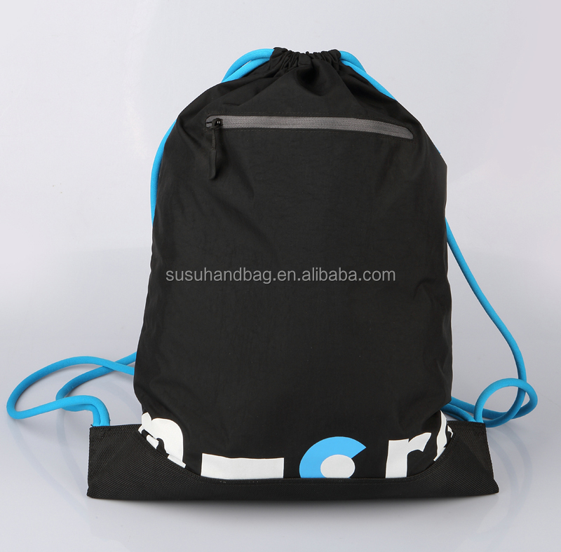 Black Washed Nylon Drawstring Bags Men Sports