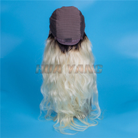 Top Selling virgin malaysian hair natural wave style blonde front lace wig
