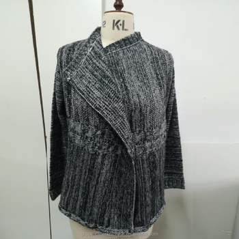 autumn 2017 100% acrylic imitation mohair heavy gauge knit cardigan women no button