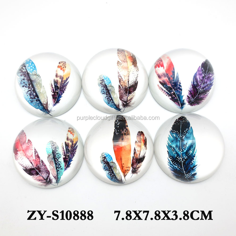 3D magnify clear crystal glass dome paperweight for home deco