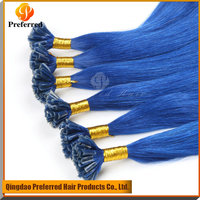 Blue color 7A grade Peruvian U tip hair extension pre-bonded hair factory price