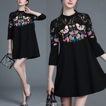 Fashion Elegant Embroidered Stitching Lace Three Quarter Sleeve Split Girl Dress