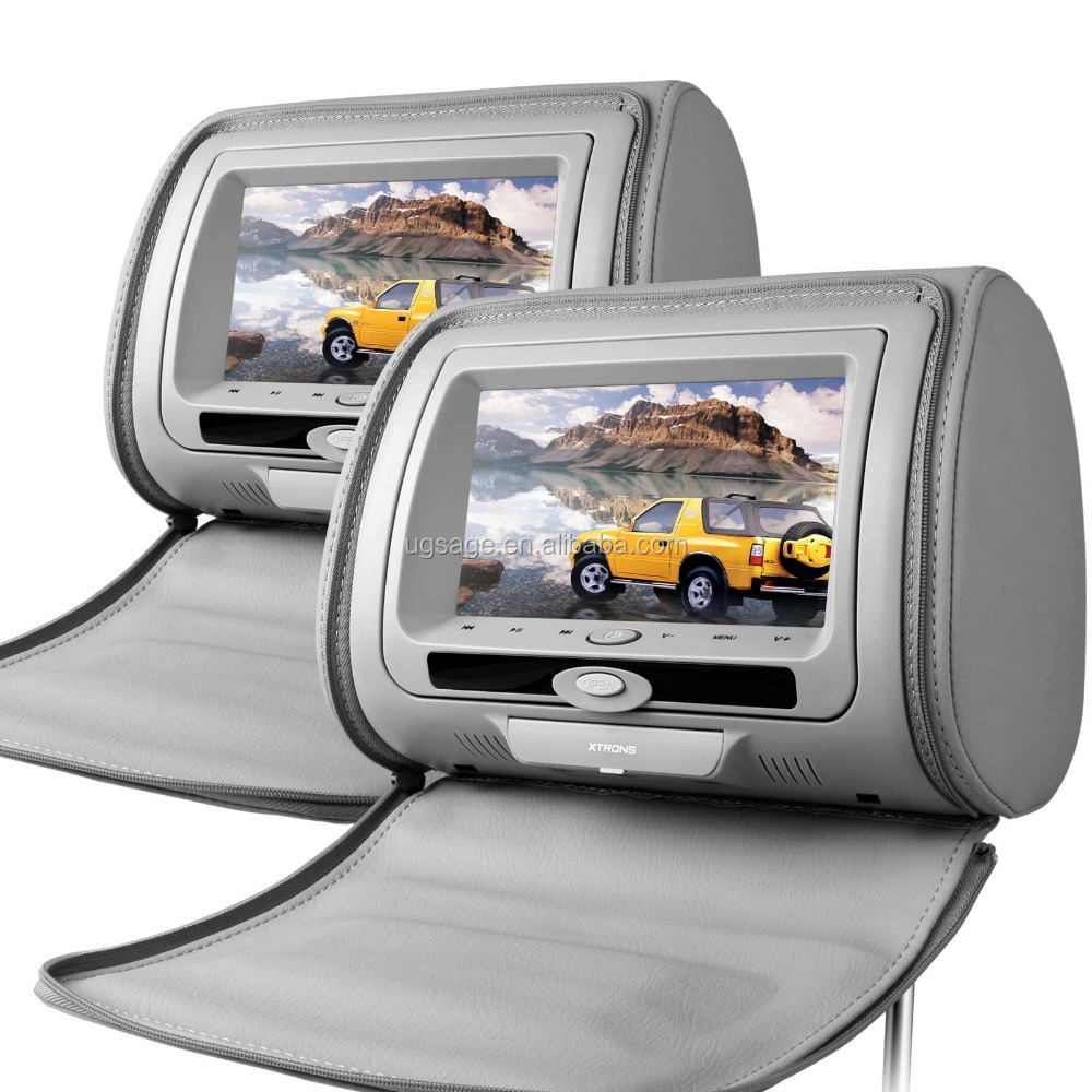 XTRONS 2x7 Inch dual car dvd player monitor with dvd IR/ FM zip cover wireless game, car pillow headrest, car head unit