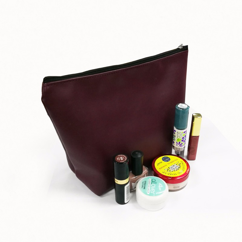 SGS approval pu material zipper cosmetic bag