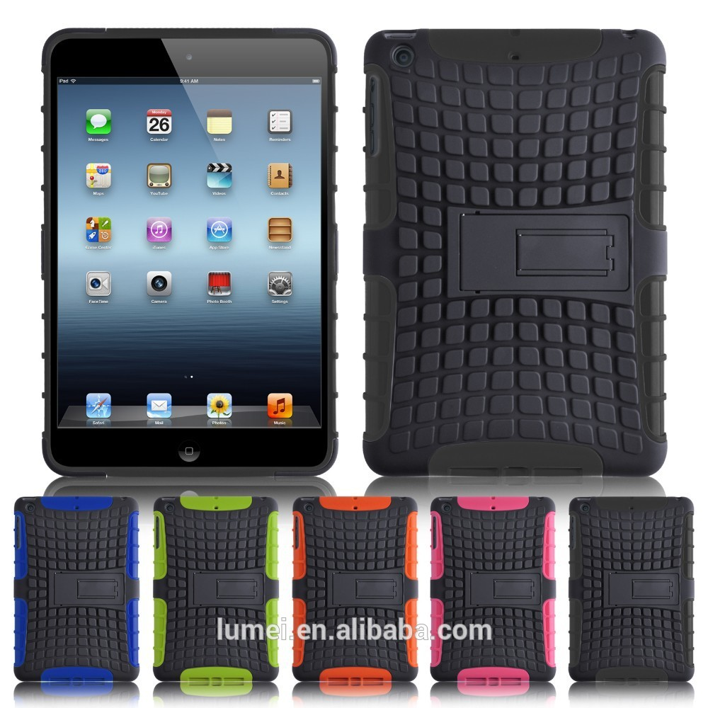 colorful hybrid rugged cover for ipad air 2 case, for ipad case mini stand tpu+pc