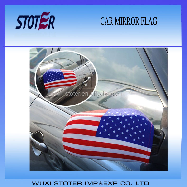 Promotion US car mirror flag cover Cheap car wing mirror cover flag
