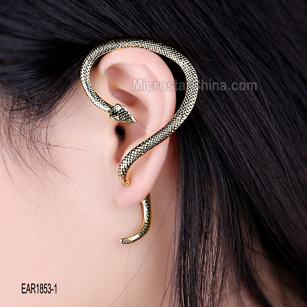 Anti allergy alloy electroplate personalized punk snake earring