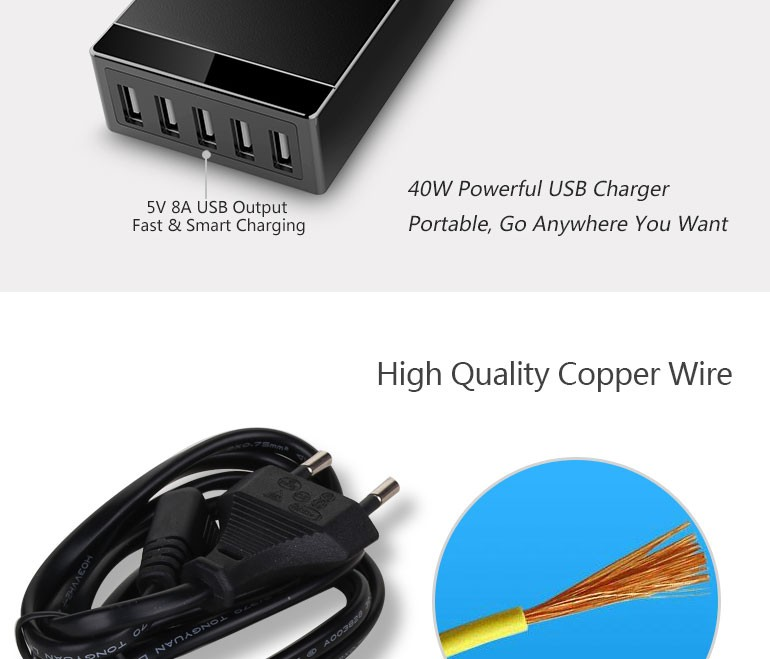CE FCC ROHS approved ODM OEM quick charging multi 5 port usb charger
