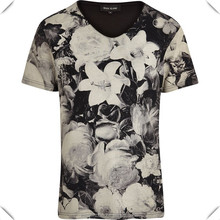 Black Monochrome Floral Print T-Shirt Custom Design Mens All Over Sublimation Printed T Shirts
