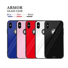 Free Sample TPU Armor Tempered glass case phone cover for iPhone x Support Wireless Charging