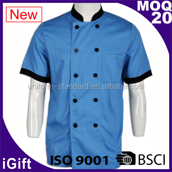 Basic Fit Chef Coat Plastic Buttons 100% Premium Cotton Twill cheap catering uniforms