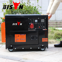 BISON(CHINA) 5kw Classic Style Super Silent ATS Big Fuel Tank Strong Cooling Wheels Handle Portable Diesel Generator For Sale