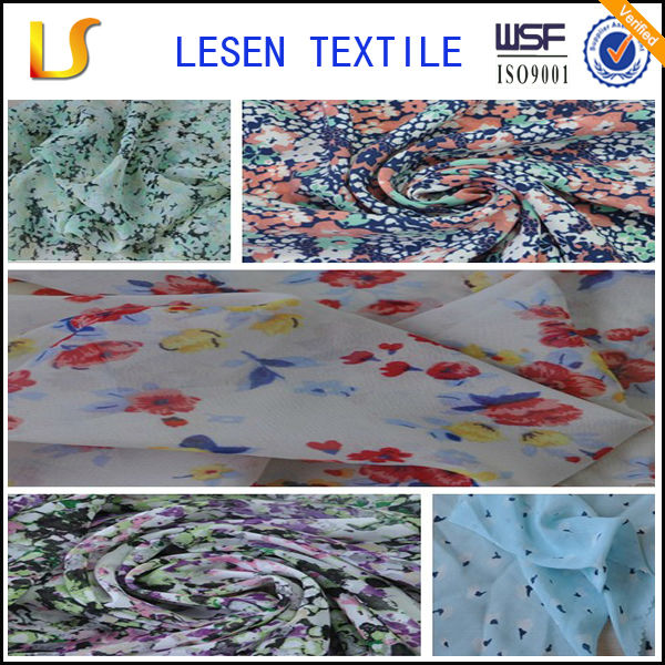 Lesen Textile printed silk chiffon fabric with flower pattern
