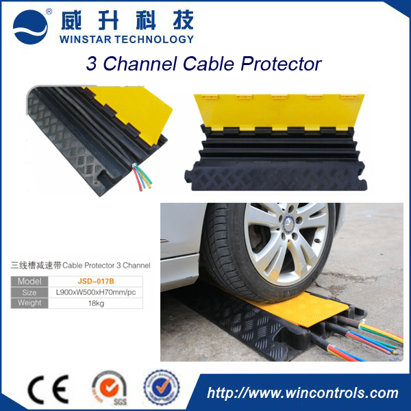 2/3/5 channel PVC+Rubber flexible cable protector ramps,cover ramp wire protector for road safety use