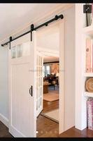 3-lite and one panel sliding barn door with glass ,barn door hardware