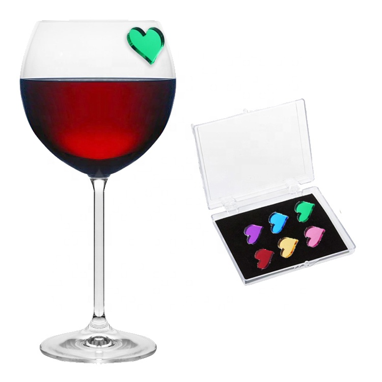 Chinese Supplier New Products Heart Magnetic <strong>Wine</strong> Drink Markers Glass Charms