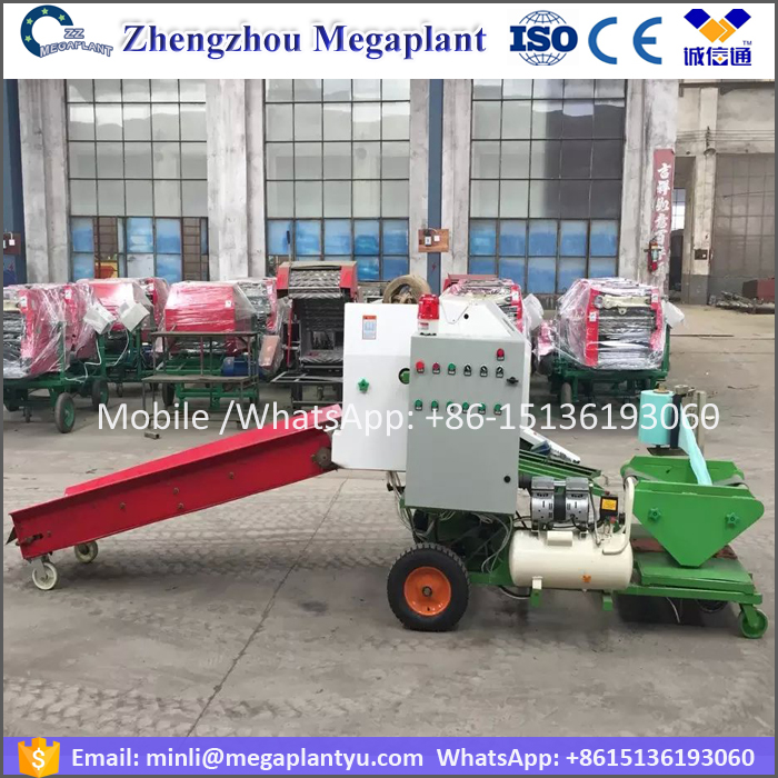 Full automatic mini hemp hay blace baler twine walking tractor machine