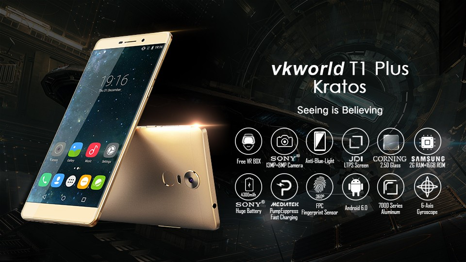 VKWORLD T1 Plus 6 inch MTK6735 2G+16G Camera 13MP 4300mAh Dual SIM 4G Android 6.0 Smartphone New Mobile Phone Price List