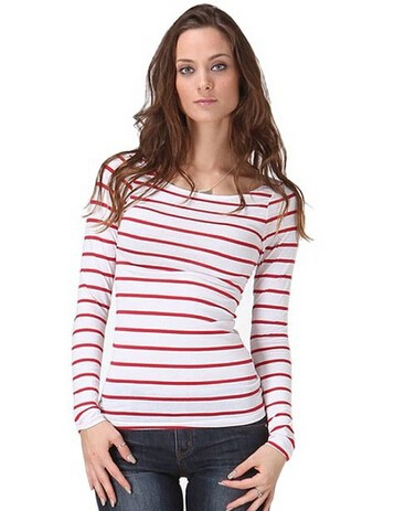 long sleeve women casual red white striped t-shirts