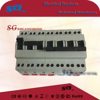 din rail type 3 positions manual switch for generator ON-OFF-ON