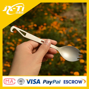 Multifunctional straight shank Titanium Spork, titanium camping cutlery with bottle opener