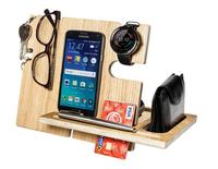 Mobile Phone Wooden Docking station with Key Watch pen glasses Holder