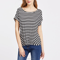 Striped gathered hem short dolman sleeve modal t shirt