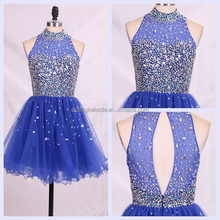 Bling Halter Royal Blue Beaded Short Tulle Cocktail Party Homecoming Prom Dress