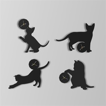 Metal Craft Fashionable Creative Different Shapes Cute Cat Home Art Wall Clock