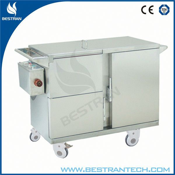 China BT-SFT003 hospital stainless steel electric food warmer trolley, mobile food warmer cabinet