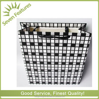big black drawstrings silver edge Leopard paper shopping hand bag for customer