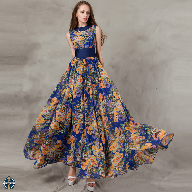 T-D564 Chiffon Waist Pleated Bohemian Design Summer 2016 Maxi Long Flared Dress