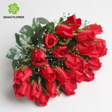 Rosa roja para wedding fake plastic rose de seda artificial rose bouquet
