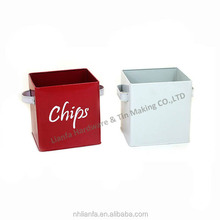large metal tinplate storage box with handle
