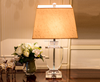 Medal shape design K9 clear crystal table lamp with fabric lampshade