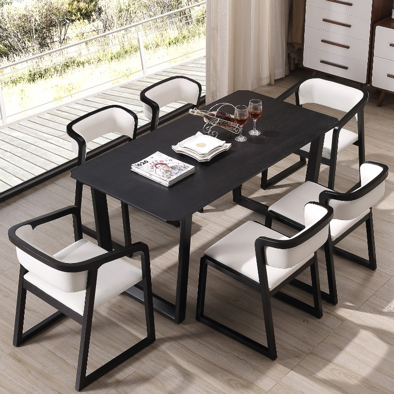European style Dining Room Set furniture black dining table and chair