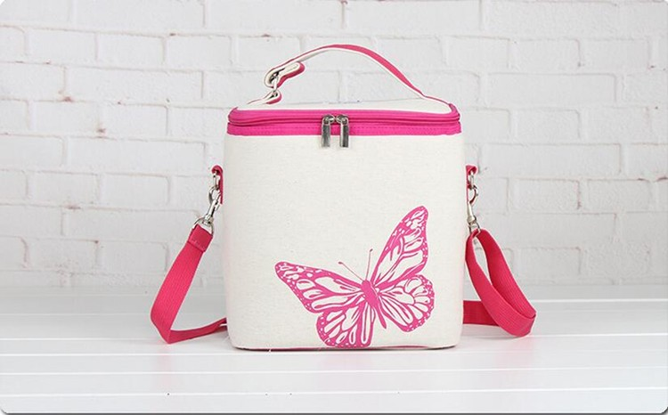 2016 new fashion Butterfly Insulated women cooler lunch box bag