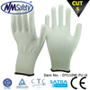 NMSAFETY White nylon and HPPE and glassfiber liner white pu anti cutting gloves/Level 5 cut resistant glove
