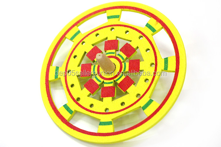 2016 wholesale kids wooden spinning top