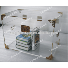 hot sale acrylic trunk with brass acrylic collection box lucite storage furniture