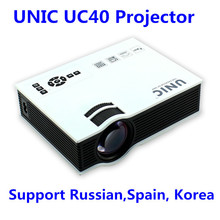 Support Spanish / Russian / Korea UNIC UC40 Proyector LED LCD 1080P Full HD Projector Mini Pico AV USB SD HDMI Home theater