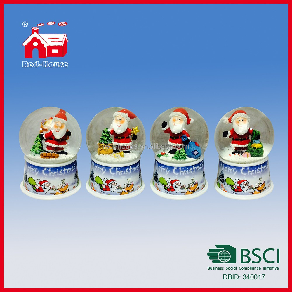 65mm Merry Christmas Glass Water Globe Christmas Scene in Snow Globe on Printed Base