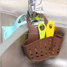 Portable Kitchen Sink Shelving Bag Dish Cloths Rack / Suction Sponge Hanging Drain Holder