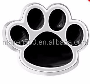 Jewelry Floating Memory Locket Silver P Black Enamel Dog Paw Charms